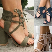 Fashion Thick High-heeled Open Toe Lace-up Sandals