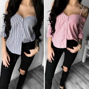Sexy Off-shoulder Long Sleeve Sling Striped Blouse