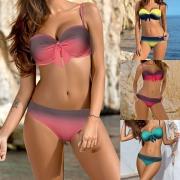Sexy Color Gradient Push-up Bikini Set