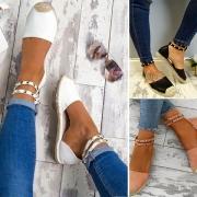 Fashion Flat Heel Round Toe Rivets Spliced Shoes