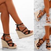 Fashion Contrast Color Peep Toe Self-tie High Wedge Heel Sandals