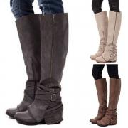 Fashion Round Toe Side-zipper Knee-length Boots