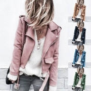Fashion Solid Color Long Sleeve Slim Fit Faux Suede Jacket