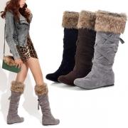 Fashion Flat Heel Round Toe Faux Fur Spliced Knee-length Boots