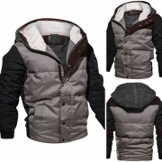 Fashion Contrast Color Long Sleeve Hooded Men's Padded Coat
