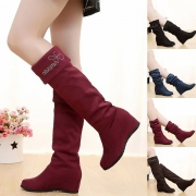 Fashion Round Toe Inner-increased Knee-length Boots