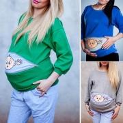 Cute Cartoon Printed Long Sleeve Round Neck Maternity Sweatshirt