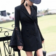OL Style Lace Spliced Trumpet Sleeve Double-breasted Blazer