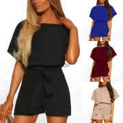 Fashion Solid Color Short Sleeve Round Neck Romper