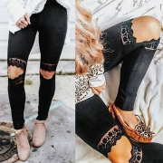 Sexy Hollow Out Lace Spliced Slim Fit Leggings