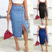 Fashion High Waist Slit Hem Denim Skirt