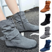 Fashion Solid Color Flat Heel Round Toe Ankle Boots Booties