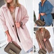 Fashion Solid Color Long Sleeve Notched Lapel Plush Coat