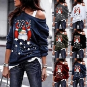 Cute Santa Claus Printed Long Sleeve Oblique Shoulder Sweatshirt