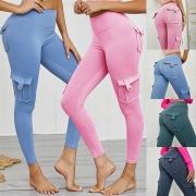 Fashion Solid Color High Waist Side-pocket Stretch Leggings