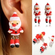 Cute Style 3D Santa Claus Shaped Earrings