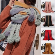 Fashion Contrast Color Hairball Spliced Scarf