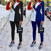 OL Style Contrast Color Blazer Coat + Suit Pants Two-piece Set