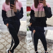 Fashion Contrast Color Sequin Spliced Hooded Sports Suit(It runs big)