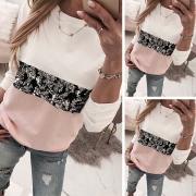 Fashion Contrast Color Sequin Spliced Long Sleeve Round Neck Sweatshirt