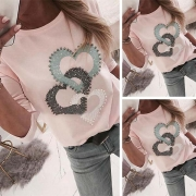 Fashion Heart Beaded Long Sleeve Round Neck Top