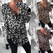 Fashion Long Sleeve V-neck Leopard Printed Blouse