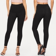 Fashion Solid Color High Waist Slim Fit Stretch Leggings