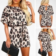 Fashion Short Sleeve Round Neck Leopard Printed Romper