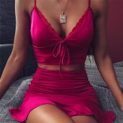 Sexy Backless V-neck Sling Crop Top + Skirt Two-piece Set Pajamas