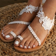 Fashion Flat Heel Lace Spliced Flower Sandals