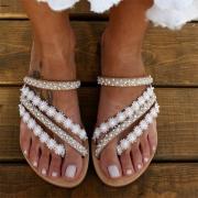 Fashion Bead Lace Spliced Flat Heel Sandals