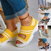 Fashion Contrast Color Thick Sole Open Toe Sandals