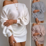 Fashion Solid Color Lantern Sleeve Boat Neck Loose Sweater