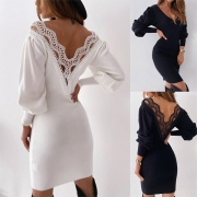 Sexy Lace Spliced Backless Long Sleeve V-neck Slim Fit Dress
