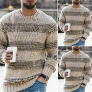Fashion Long Sleeve Round Neck Contrast Color Man's Sweater