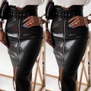 Fashion High Waist Slit Hem PU Leather Skirt with Waistband