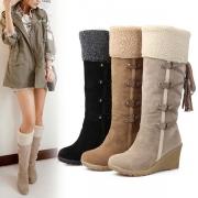 Fashion Wedge Heel Round Toe Plush Lining Boots