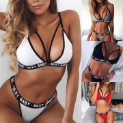 Sexy Low-waist Letters Printed Spliced Hollow Out Underwear Set