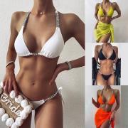 Sexy Low-waist Rhinestone Spliced Halter Bikini Set