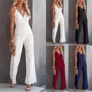 Sexy Backless V-neck High Waist Slim Fit Sling Lace Jumpsuit