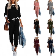 Fashion Contrast Color Long Sleeve Round Neck Top + Pants Two-piece Set