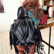 Punk Style Retro Skull Embossed Fringed Shoulder Bag Handbag