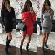 Fashion Solid Color Long Sleeve Cowl Neck Dress