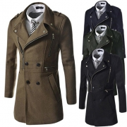 Fashion Casual Solid Color Double-breasted Woolen Coat