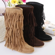 Fashion Casual Solid Color Tassel Round Toe Flat Boots