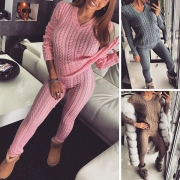 Fashion Solid Color V-neck Sweater + Pants Knit Two-piece Set