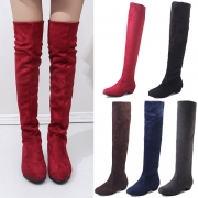 Fashion Solid Color Round Toe Over-the-knee Boots