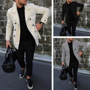 Fashion Solid Color Long Sleeve Double-breasted Men's Suit Coat