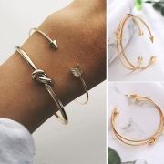 Simple Style Gold-tone Alloy Bracelet Set 2 pcs/Set