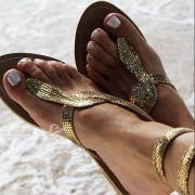 Fashion Flat Heel  Snake-print Thing Sandals
